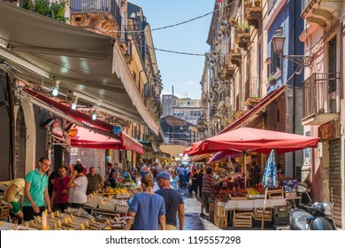 The colorful and vivid market of Catania on a summer morning, in Sicily, southern Italy. July-02-2018