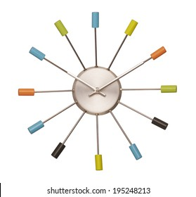 colorful wall clock sixties look isolated with clipping path