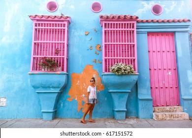 Colorful walls in Cartagena