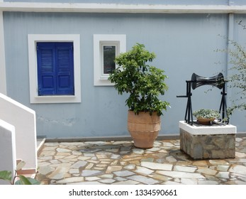 The colorful walls, doors and windows at Fiscardo, Kefalonie, Greece