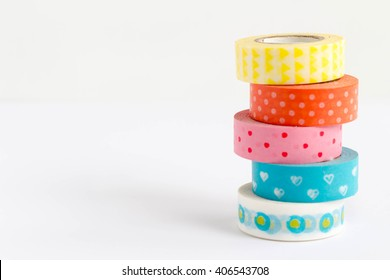Colorful washi tapes on white background