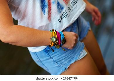 colorful watch wristband on stylish female hand