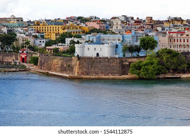 Colorful water approach along the coastline to dock near old downtown section of San Juan, Puerto Rico.