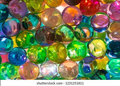 The colorful water beads or water crystal gel use for background