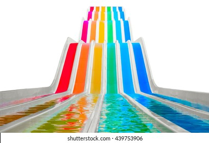 Colorful water slides on white background
