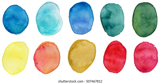 Colorful watercolor blots on white background. Watercolour stains isolated. Watercolor speech bubble. Watercolor text cloud. Bright watercolor washes in red, yellow, blue, mint, green, orange