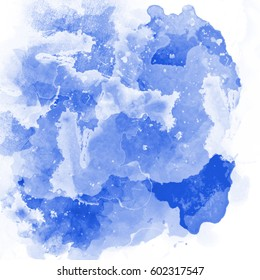 Colorful watercolor blots and splashes on a white background.