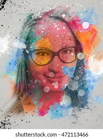 Colorful watercolor drawing of a smiling young girl with glasses