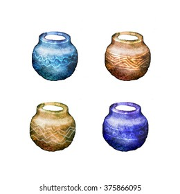 Colorful watercolor hand drawn ceramic pots. Vintage crockery isolated on white background.