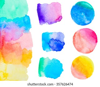 colorful watercolor handmade set isolated on white background