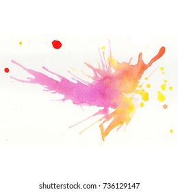 Colorful watercolor splashes over white background. Pink, yellow and red colors