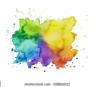 Colorful watercolor stain isolated  on a white background