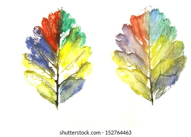 Colorful watercolor stamped painted leaves