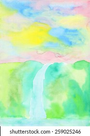 Colorful waterfall painting with gradation for a soft Spring or Early Summer feel. Hand drawn using transparent watercolor paint on paper.