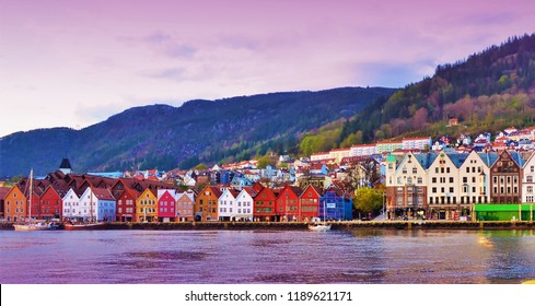 The colorful waterfont of Bruggen in Bergen during evening