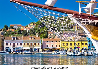 Colorful waterfront of Island Losinj in Croatia