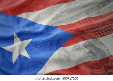 colorful waving national flag of puerto rico on a american dollar money background. finance concept
