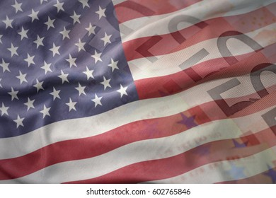 colorful waving national flag of united states of america on a euro money banknotes background. finance concept