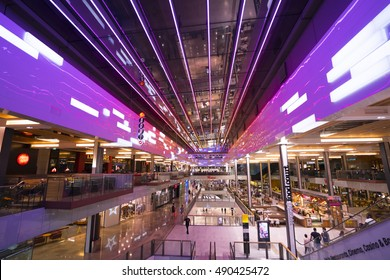 Colorful Westfield Shopping Mall in Stratford - wide angle view - LONDON / ENGLAND - SEPTEMBER 14, 2016