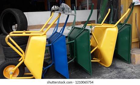 Colorful wheelbarrow carts