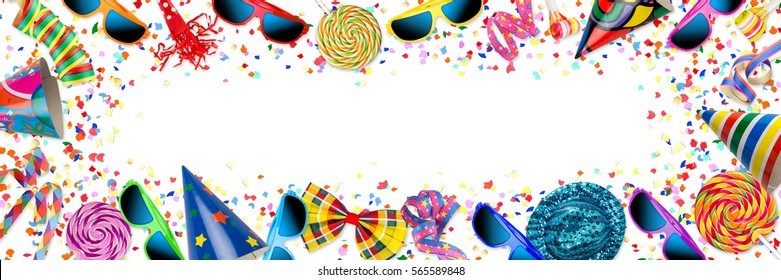 colorful wide panorama party carnival birthday celebration background with colorful streamer candy lolly pop sunglasses confetti hat lolly pop isolated on white