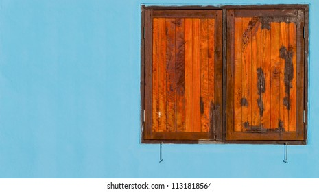 colorful window on background blue have space