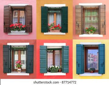 Colorful windows in Burano, near Venice, Italy