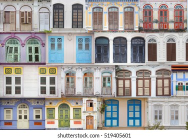 Colorful windows collection of the buildings in Georgetown,Malaysia. Colorful urban concept. Heritage colorful window frames
