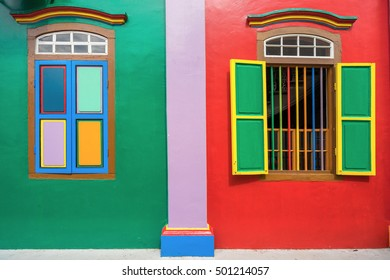 Colorful windows and details of House of Tan Teng Niah in Little India, Singapore.ow is the office of Security Assist International and Avanta Global company