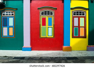 Colorful windows and details of House of Tan Teng Niah in Little India, Singapore. The building was built 1900, with Southern Chinese and European influences.