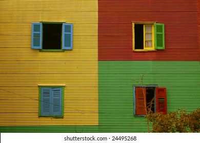 colorful windows and shutters in La Boca, Buenos Aires, Argentina
