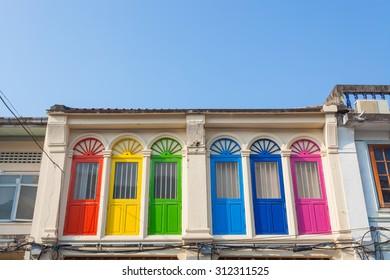 Colorful windows Sino-Portuguese style architecture at phuket