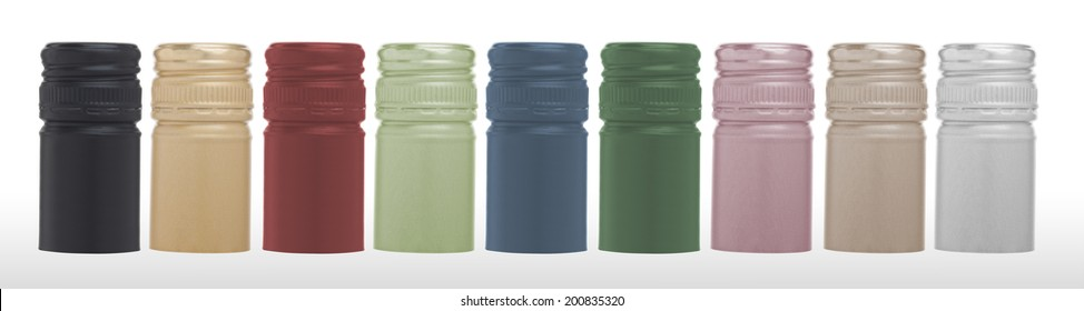 Colorful wine caps. Isolated on white background. (with PS paths)