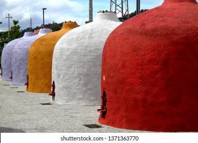 Colorful wine tanks in Portugal