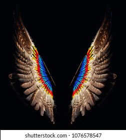 colorful wings on black background