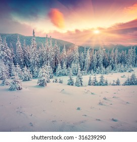 Colorful winter sunrise in the mountains. Instagram toning.
