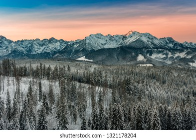 Colorful winter sunrise , Tatra mountains landscape