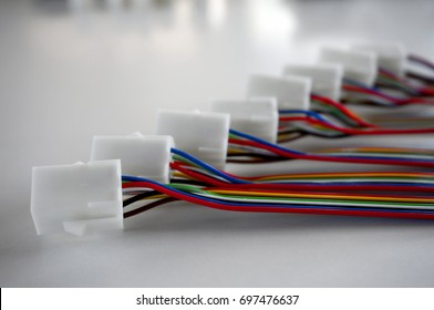 Colorful wire harnesses with plastic connectors