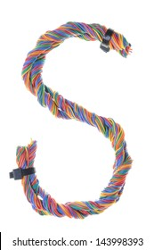 Colorful wire in the shape of the letter S