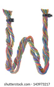 Colorful wire in the shape of the letter W