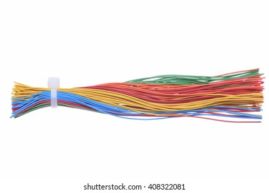 Colorful wires isolated on white background