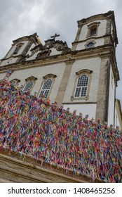 Colorful wish ribbons in front of Bonfim church at Salvador Bahia on Brazil