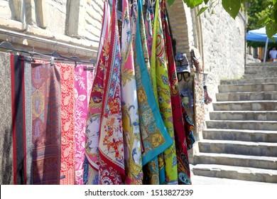 Colorful women pashmina shawls. Fabric texture
