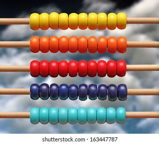 colorful wood abacus toy over blue sky
