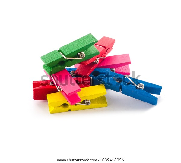 Colorful Wood Cloth clamp on white background.