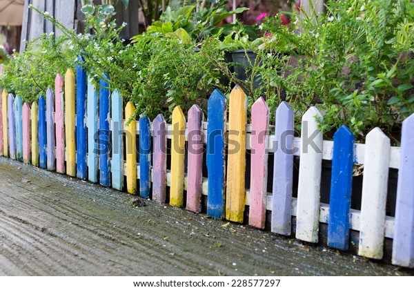 Colorful Wood Fence Small Garden White Stock Photo Edit Now