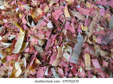 Colorful wood shavings from traditional Maldivian crafts