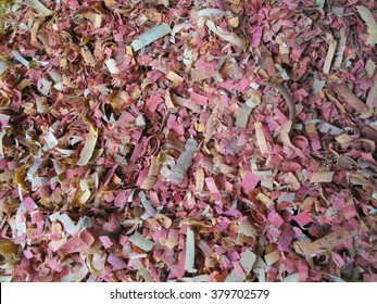 Colorful wood shavings from traditional Maldivian crafts (close up)