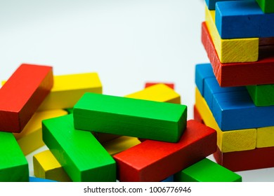 The colorful wood stack use for education and learn  for kids.