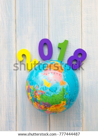 Round Globe Map.Colorful Wooden 2018 Round Globe Map Stock Photo Edit Now